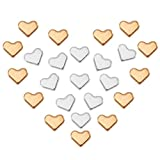 FOGAWA 200Pcs Metal Heart Beads Gold Silver Spacer Beads Heart Shaped Charm Beads for Jewellery Making Bracelet Necklaces Earrings DIY Craft 7x7mm