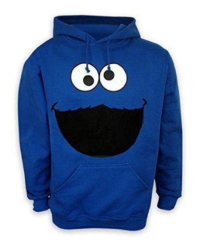 Barrio Sésamo Capucha Sudadera monstruo cara Cookie Monster hoodie en tamaño XXL–Sudadera con capucha