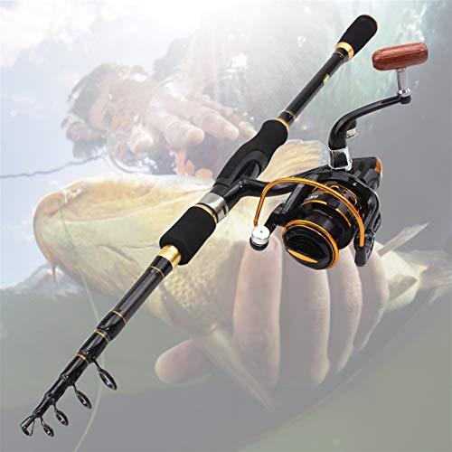 H/A HUANH Nueva 1,8M 2,1M 2,4M 2,7M de Carbono Spinning Varilla telescópica caña de Pescar y Carrete Combo Pesca de señuelo trastos Conjunto HUANH (Size : 1.8M Rod and Reel)
