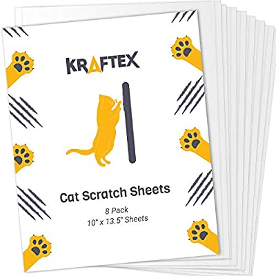 Cat Scratch Deterrent Tape [8 Sheets] Cat Scratch Tape to Stop Cat Scratching Furniture. Effective Deterrent Tape Furniture Protectors from Cats. Cat Training Tape for Couch, Bed, Carpet and More from Kraftex