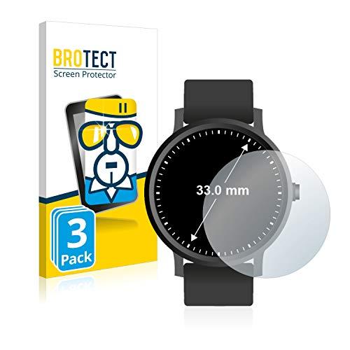 BROTECT Panzerglas kompatibel mit Armbanduhren (Kreisr&, Durchmesser: 33 mm) (3 Stück) 9H Echtglas Schutzfolie