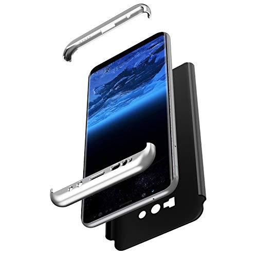 JAWSEU Coque Samsung Galaxy Note 9,Galaxy Note 9 Housse Etui en PC Dur Mince Léger Étui Housse Hard Case 360 Degrés Full Body Verre trempé Protection écran Anti-Choc Bumper Case/Argent+Noir
