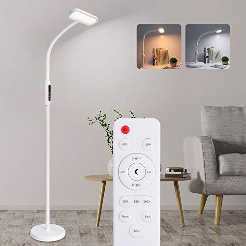 Oeegoo Stehleuchte LED Dimmbar, 12W LED Stehlampe mit Fernbedienung, Schwanenhals, (3 in 1)Touch Leselampe Tischlampe Klemmleuchte für Wohnzimmer Schlafzimmer, 5 Farbtemperaturen, 5 Helligkeitsstufen