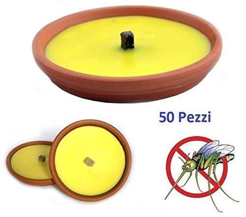 CANDELE ALLA CITRONELLA SET 50 PZ FIACCOLA VASO IN TERRACOTTA 17 CM ANTI ZANZARE
