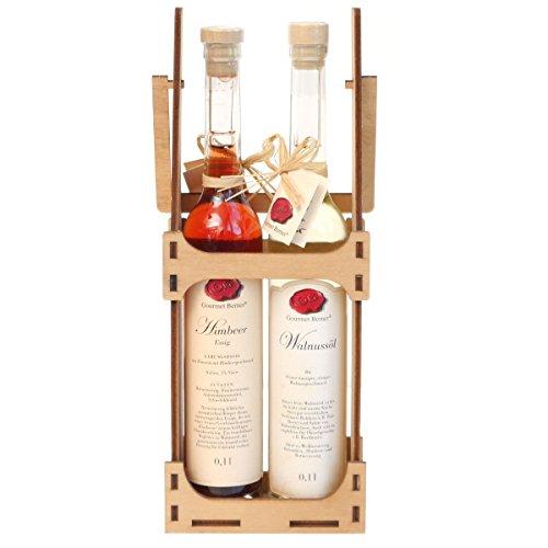 Gourmet Berner Himbeer Essig + Walnussöl 2 x 0,1 l im Flaschenträger
