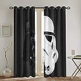 HJFRDVBNT Star Wars - Cortinas opacas para dormitorio y ventana (2 paneles, 132 x 213 cm), aislamiento térmico y reducción de ruido