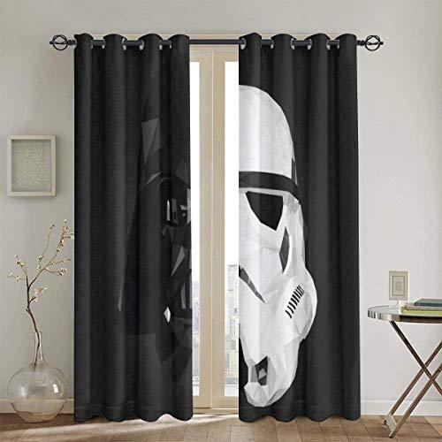 HJFRDVBNT Star Wars Cortinas opacas para dormitorio y ventana (2 paneles, 132 x 213 cm), aislamiento térmico y reducción de ruido