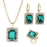 N-K PULABO - Juego de joyas de cristal de imitación para collar y pendientes con colgante vintage de tres piezas para mujer, color verde rentable y duradero