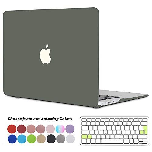 TECOOL MacBook Air 13 Hülle, Slim Plastik Hartschale Schale Cover Zubehör mit EU Transparente Tastaturschutz Schutzhülle für Apple 2010-2017 MacBook Air 13.3 Zoll Modell:A1466 / A1369 - Nachtgrün