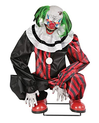 Hockender Horror Clown Animatronic mit Bewegung und Sound als Halloween Dekoration