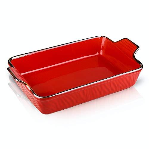 KOOV Individual Lasagne Pan Deep, Rectangular 9x13 Baking Dish, Ceramic Baking Dish, Bakeware for Tapas, Roasting, Casserole Dish for Oven, Texture Series (Red)