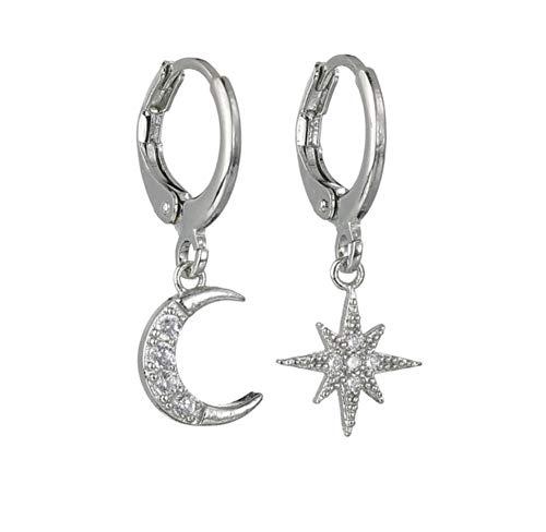 Classic Metal Hoop Star Moon Strass Intarsiato Orecchini pendenti asimmetrici Orecchini pendenti eleganti coreani per le donne Gioielli orecchio argento 2 pezzi