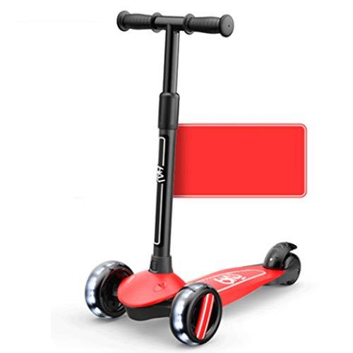 Scooters para Niños Double Taxi Mode Scooter para niños de 3 a 14 años con ruedas de flash, scooter para niños 4 altura ajustable, scooters para niños pequeños PU extra anchos LED llantas Antideslizan