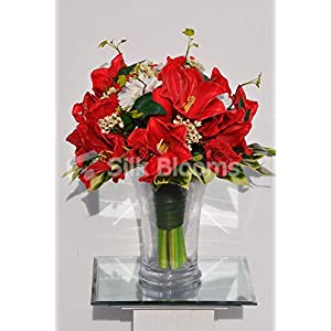 Silk Blooms Ltd Artificial Fresh Touch Red Amaryllis and White Gerbera Floral Arrangement w/Roses and Waxflower