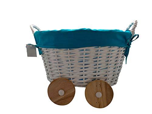 DISOK - Cesta De Mimbre En Forma De Carrito Azul - Cestas de Mimbre para Detalles de Boda, Bautizos. Cestas para Llevar Regalos, regalitos Recuerdos Detalles Bautizos, Baby Shower, Niños, Cestos