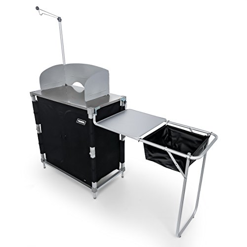 Camco 51097 Deluxe Camping Kitchen/Grill Table with Integrated Lantern Holder, Stainless Steel Top, and Wash Tub