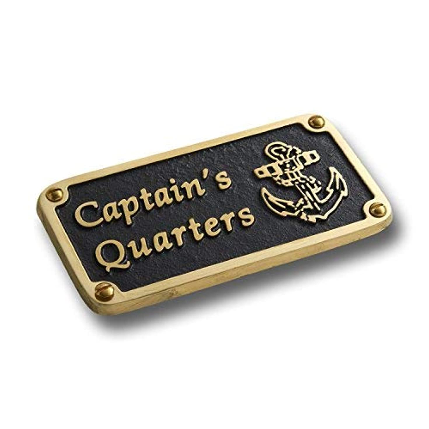 The Metal Foundry Nautical Bathroom Décor Accessories Brass Plaque. Beach Theme Funny Wall Decoration Captain's Quarters Sign