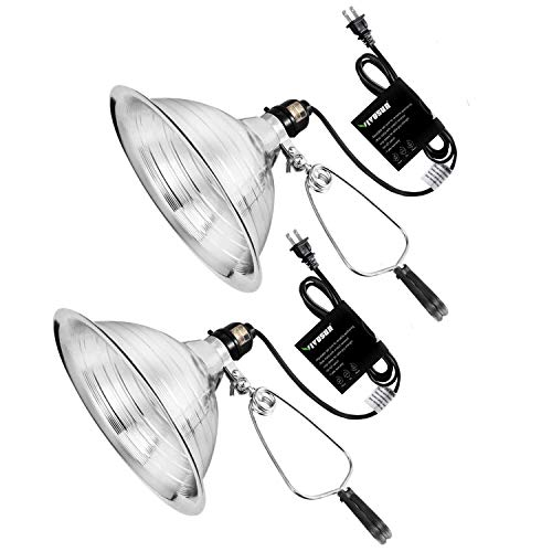 VIVOSUN Clamp Lamp Light with Detachable 8.5 Inch Aluminum Reflector up to 150 Watt E26 Socket (No Bulb Included), 6 Feet Cord, UL Listed, Pack of 2