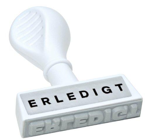 WEDO 19316 Lagertext Stempel ERLEDIGT, Kunststoff, Abdruckbreite ca. 45 mm, ergonomischer Griff, weiß