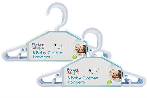First Steps - Paquete de perchas para ropa de bebé (8, 16, 24 o 32 unidades), color rosa, blanco o azul blanco blanco Talla:Pack of 16