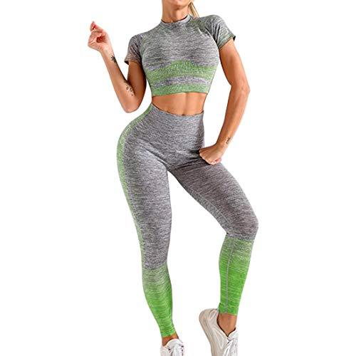 Completo Sportivo Donna Tuta da Ginnastica Senza Cuciture Yoga Suit da Donna Tuta da Yoga a Maniche Corto +Sportivo Leggings Pantaloni per Yoga Jogging Fitness (Verde, S)