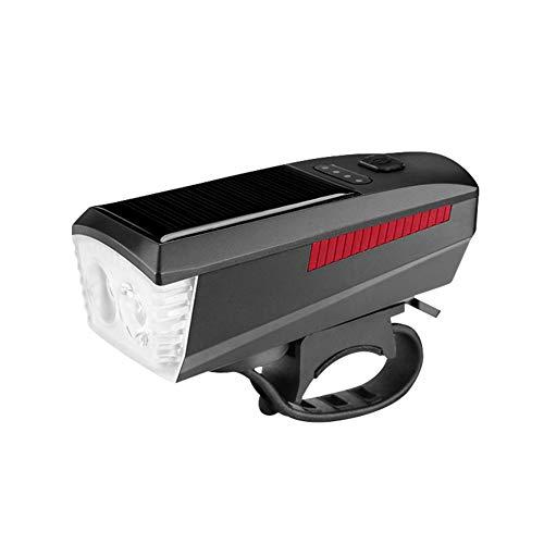 Zebery Energía solar Bicicletas lámpara con cuerno T6 LED Road Mountain Bike Luz delantera USB recargable faro 4 modos Ciclismo cabeza lámpara