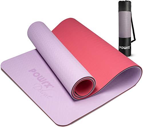 POWRX Esterilla de yoga profesional 171x61x0,8 cm - Colchoneta 100% ecológica con doble lado antideslizante - Extra ligera con bolsa de transporte + PDF Workout (Lila Rosa)
