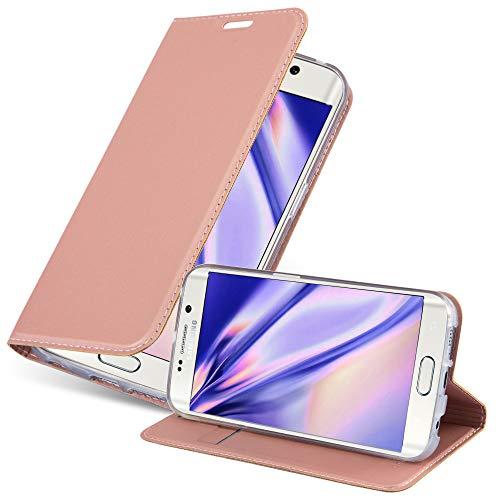 cover a portafoglio samsung s6 Cadorabo Custodia Libro per Samsung Galaxy S6 EDGE in CLASSY ORO ROSA – con Vani di Carte