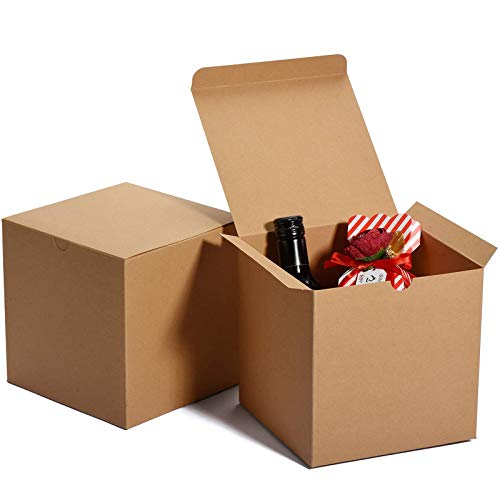 MESHA Cardboard Gift Boxes 50 Pcs-6X6X6in Favor for Bridesmaid Proposal/Birthday/Party/Wedding, Kraft Paper Present Packaging Box with Lids, Decorative Gift Wrap Boxes Bulk for Crafting/Cupcake -Brown