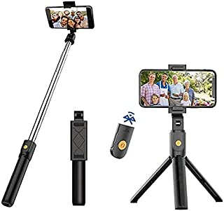 AMERTEER Selfie Stick Tripod, 3 in 1 Extendable Selfie Stick Stand with Wireless Remote Phone Holder Compatible with Andro...