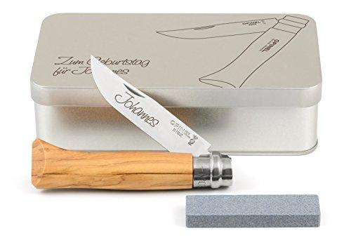 Opinel No.8 Olivenholz Taschenmesser Geschenkdose inkl. Schleifstein und Wunschgravur auf Klinge + Dose