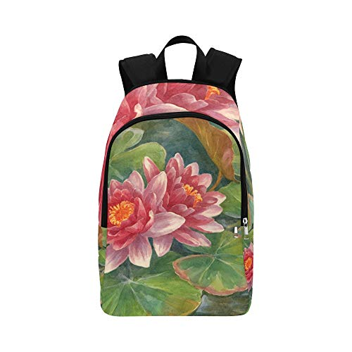 WSNWCY Cute Backpack Elegant Fragrant Water Lily Flowers Durable Water Resistant Classic Girls Backpack Water Hike Bag Bag for College Girl Best Hiking Bag