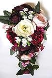 Wedding Bouquet, 17 Piece Set Bridal Bouquet Package Burgundy Blush Eggplant Pink Silk Wedding...