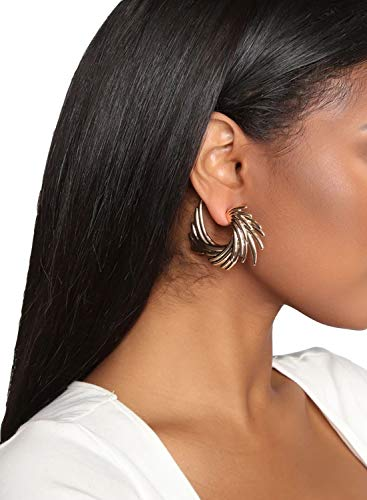 Retro Flügel Form Ohrringe Bohemian Gold Eardrop Casual Hoop Ohrringe Luxus Ohrring Jacke Gr. Einheitsgröße, gold
