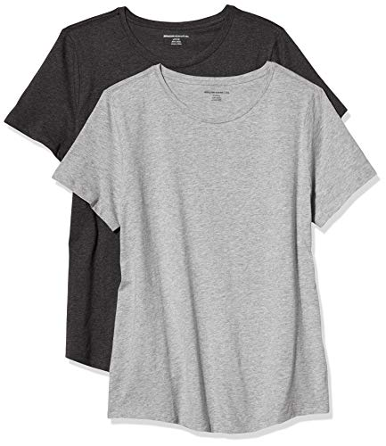 Amazon Essentials Women's 2-Pack Classic-Fit 100% Cotton Short-Sleeve Crewneck T-Shirt, Charcoal Heather/Light Grey Heather, Medium