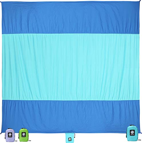Wekapo Sand Free Beach Blanket, Extra Large Oversized 10'X 9' for 7 Adults Beach Mat, Big & Compact Sand Proof Mat Quick Drying, Lightweight & Durable...