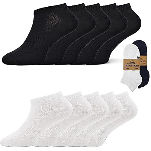 MOUNTREX Damen und Herren Sneaker Socken (10 Paar) Kurze Socken - Schwarz und Weiß, 35-38