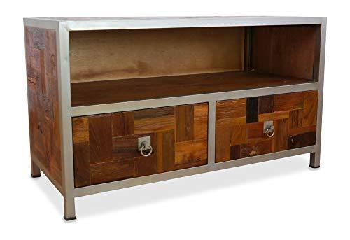 livasia Kleines Java Sideboard aus Metall und Teakholz | TV-Bank im Industrial Design | Asiatische Möbel der Marke Asia Wohnstudio | Asia TV-Bank | Teakholz Sideboard (Handarbeit)