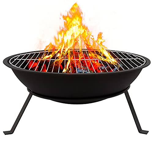 Outdoor Fire Pit with BBQ Grill Steel Fire Bowl for Garden Patio Portable Firepit Bowl Outdoor Wood Burners for BBQ, Camping, Picnic, RV Trips