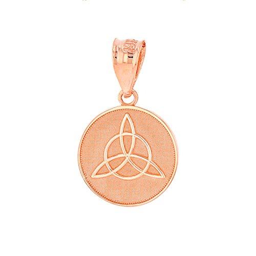 Dainty 10k Rose Gold Irish Infinity Circle Celtic Trinity Knot Disc Pendant