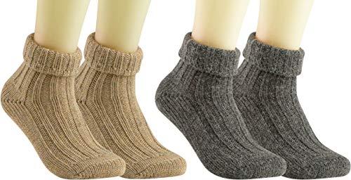 RS. Harmony | Socken und Strümpfe für Damen | Alpaka mit Umschlag | 2 Paar | anthrazit, natur | 39-42