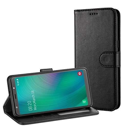 TAMOWA Handyhülle für Samsung Galaxy A7 2018 Hülle, Leder Flip Handyhülle Schutzhülle Tasche für Samsung Galaxy A7 2018 (Kartenfach) (Standfunktion) (Magnetverschluss), Schwarz