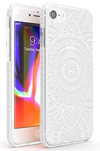 Bianco Henna Circle Impact Cover per iPhone 6 TPU Protettivo Phone Leggero con Astratto Modelli Floreale Pizzo Tatoo