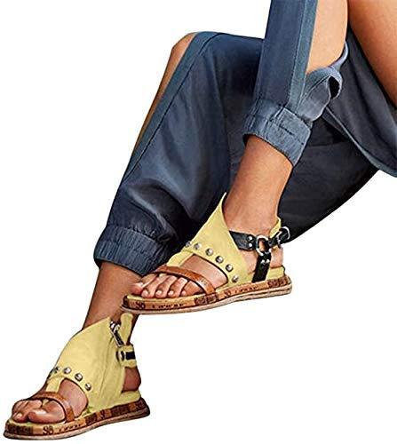 JFFFFWI Sandalias cómodas con Plataforma para Mujer Zapatos ortopédicos Cuero de PU Suela Plana Punta Grande Sandalias de corrección de pie Punta Redonda Sandalias con Cremallera en la Espalda Sanda