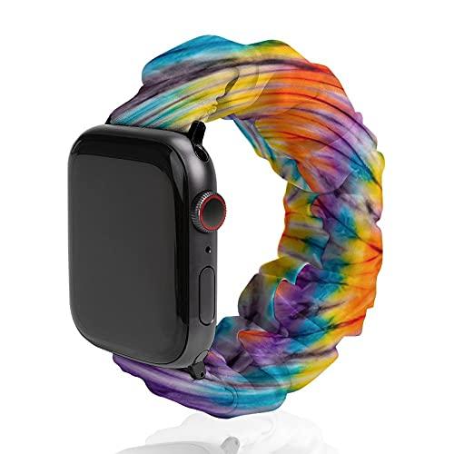 Banda de reloj de tela teñida abstracta de poliéster para Apple Watch, adecuada para mujeres y parejas masculinas, bandas elásticas compatibles con SE 6, 5, 4, 3, 2 1, 38mm/40mm,