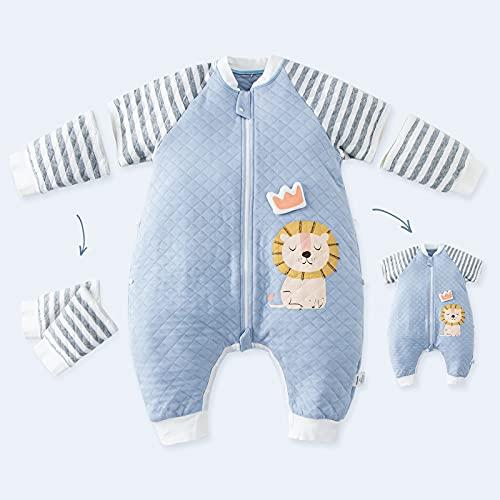 DuoMiaoMiao Schlafsack mit füßen 1 Tog 75cm 100% Baumwolle   Sommer Schlafsack Baby für Jungen und Mädchen abnehmbaren Tierbild   innenschlafsack Baby für eine Körpergröße von 80-90cm,Blauer Löwe