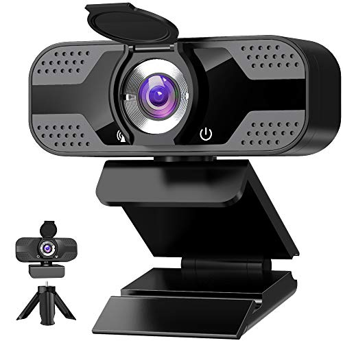 Webcam with Microphone for Desktop, 1080P HD USB Computer Cameras with Privacy Shutter&Webcam Tripod, Streaming Webcam with Flexible Rotable Wide Angle Webcam for PC Zoom Video/Gaming/Laptop (Black)