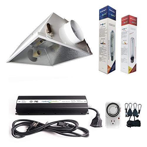 Hydroplanet 600W Horticulture Air Cooled Hood Set Grow Lights Reflector Digital Dimmable Ballast HPS MH System for Plant Grow Light Kit (600w)