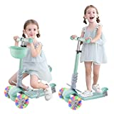 Joyhoop Patinete 3 Ruedas para niños, Patinete niño 1 a 8 años con Canasta de Juguete y LED Ruedas Luminosas, con Manillar Altura Adjustable y con Asiento Extraíble.(Azul)