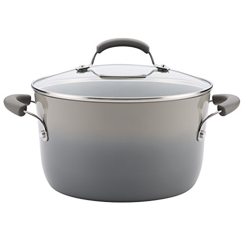Rachael Ray Brights Nonstick Stock Pot/Stockpot with Lid - 6 Quart, Gray